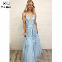 c4824d99d Elegant 2019 Blue Prom Dresses Long With Appliques V Neck Spaghetti Straps  Tulle Dress For Graduation