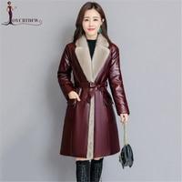 Women Jackets 2018 Autumn Winter Fashion New High end Sheep Skin Long Slim Coats Elegant Mink Fur Collar Outerwear Female XY679