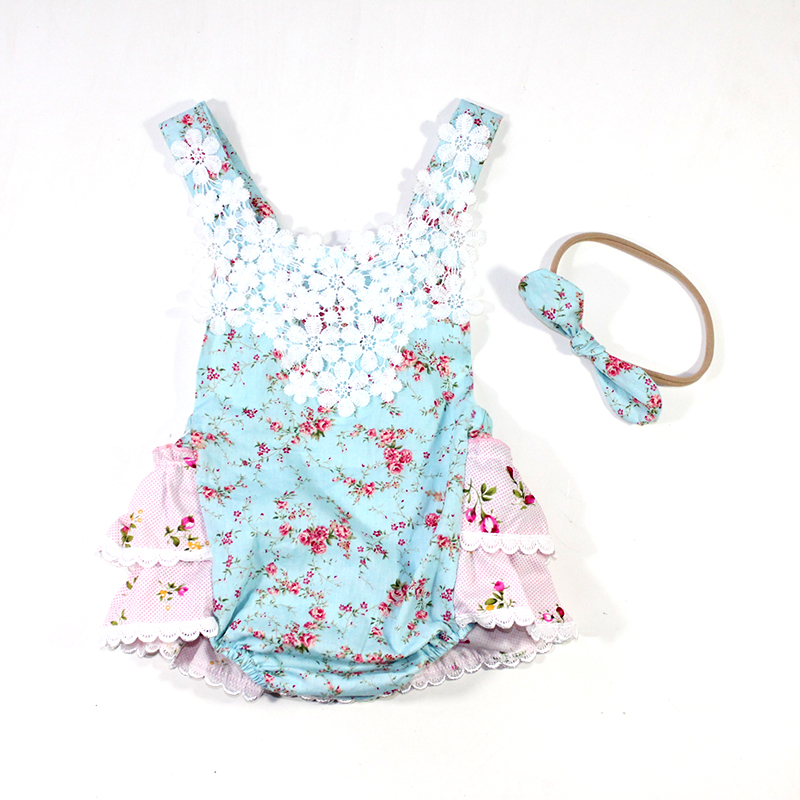 Newborn Baby Girl Clothes Floral Romper lace  Vintage Flower Jumpsuit Clothing Short Sleeve Summer Sunsuit Outfit Baby Girl newborn infant baby girl clothes strap lace floral romper jumpsuit outfit summer cotton backless one pieces outfit baby onesie