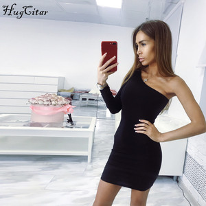 Hugcitar cotton one shoulder slope long sleeve high waist sexy bodycon mini dress 2019 autumn winter women fashion party clothes(China)
