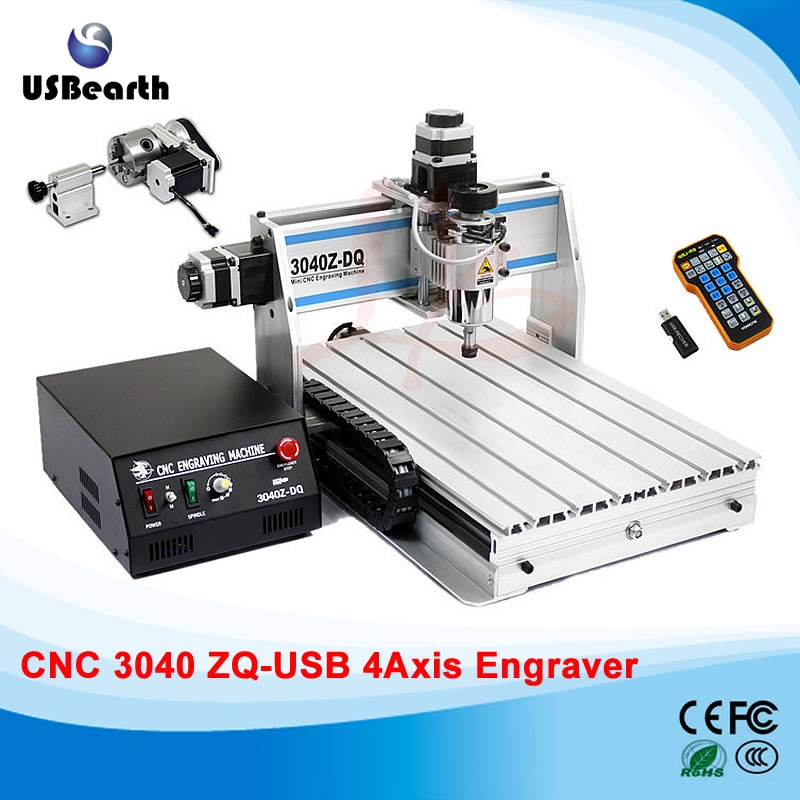 Free tax to RU 3040Z-DQ USB 4 axis 300W mini CNC router carving machine with mach3 remote controller