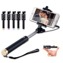 Universal Wired Selfie Stick Extendable Handheld Monopod for iPhone 5S 6 Samsung Huawei P8 lite Xiaomi Android Phone Clip Holder