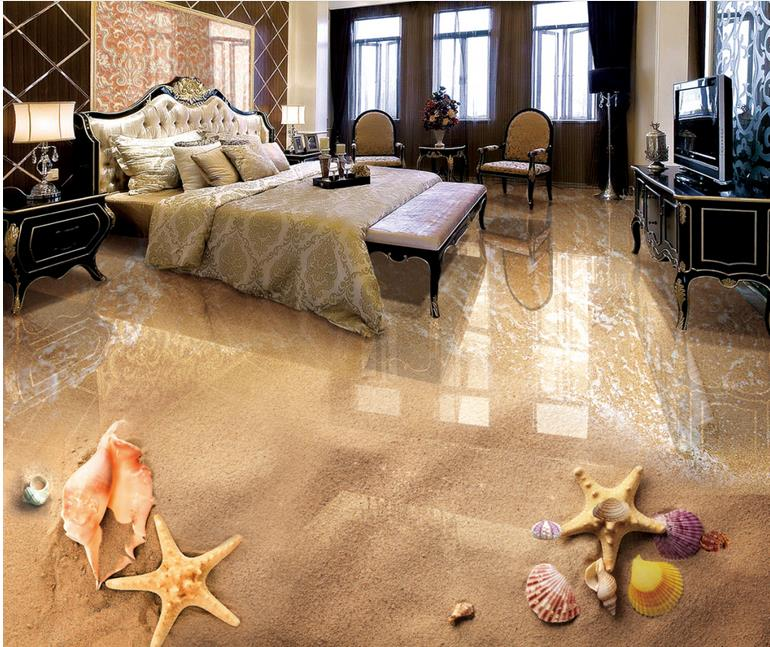 Wallpapers Custom 3d Flooring Beach Shellfish Wall Papers Home Decor 3d  Floor Tiles Photo Wall Mural