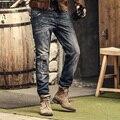 Pantalones vaqueros de los hombres famosos de la marca de Lavado Retro ripped jeans diseñador mens casual Algodón deep blue Denim jeans skinny jeans para hombres