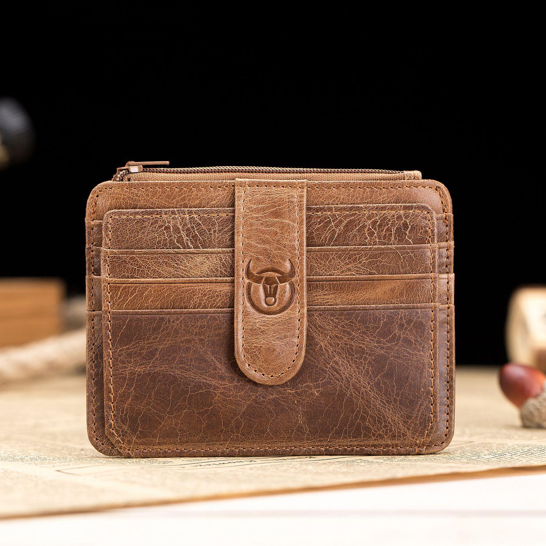 BULLCAPTAIN Men Wallet Business Card Holder Leather Pickup Package