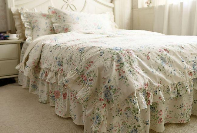 Rustic Rural Vintage Blue Rose Ruffle Cotton Bedding Sets, Luxury Full Size  Duvet Cover Set, Queen Size, King Size Bedclothes In Bedding Sets From Home  ...