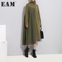 EAM 2018 New Spring High Collar Long Sleeve Solid Color Army Green Pleated Split Joint