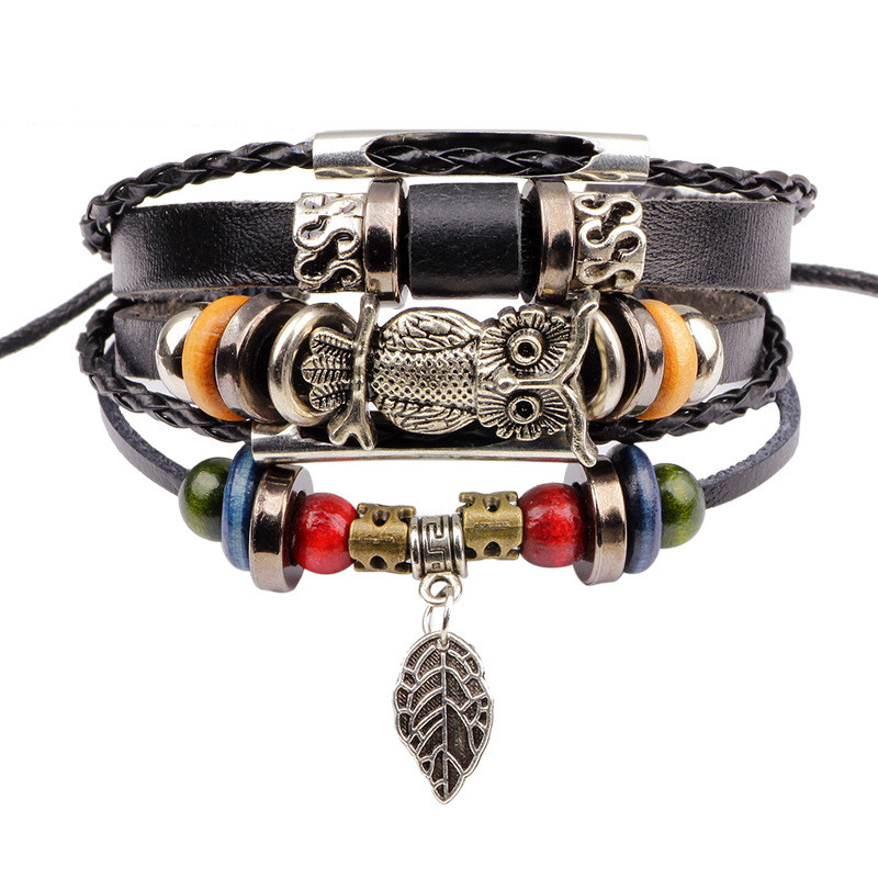 New Punk Vintage Rope Handmade Bead Woven Owl Leather Men s