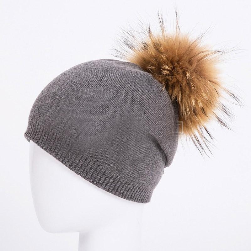 HEE GRAND/женская шапка, зимние вязаные шапки унисекс из шерсти енота, шапки с перьями для мужчин, меховая шапка куполообразная, Прямая поставка PMT089 - Цвет: Color-11