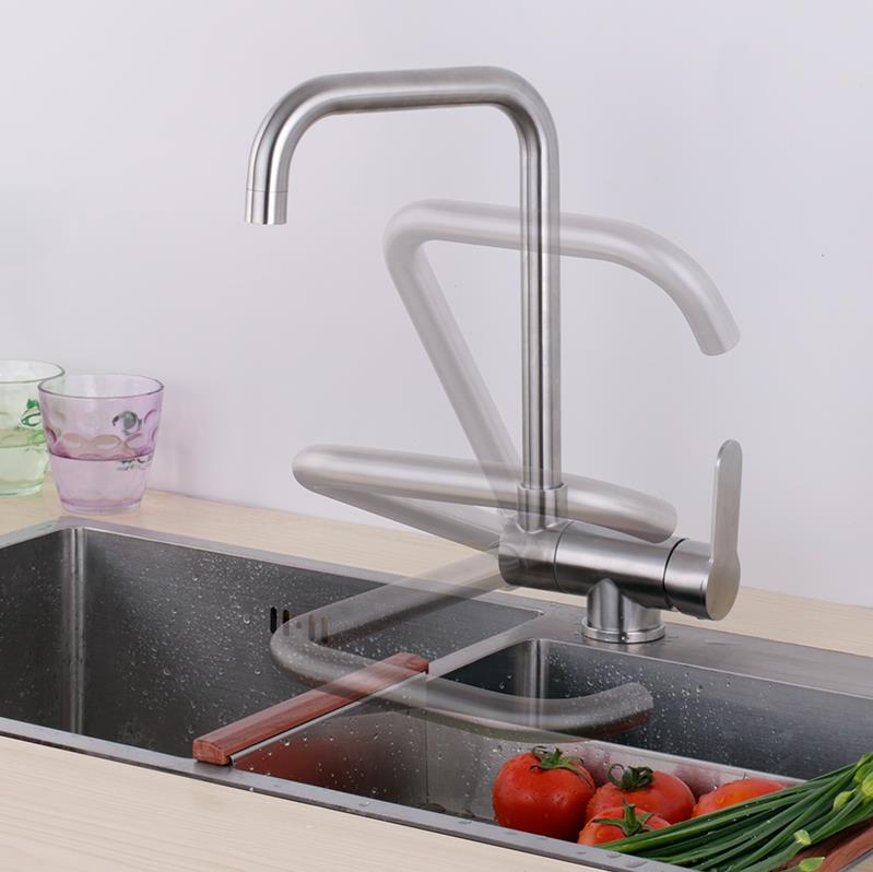 Can lay down folding kitchen sink faucet mixer hot and cold water easy open window-in Kitchen Faucets from Home Improvement    3