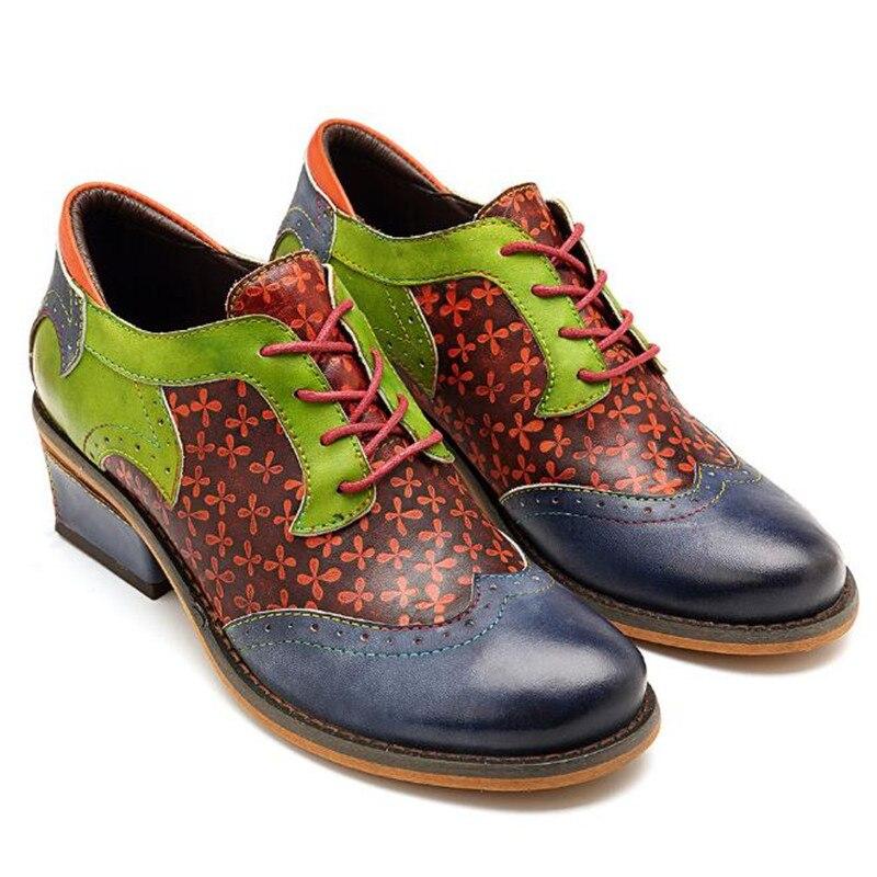 Vendimia Encaje Oxford Bajo Mujer Crudo Cómodo Zapatos Mujeres Las Casual Genuino La De Moda Green Costura Tacón Cuero Blue IpaYwOx
