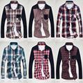 2016 camisa a cuadros de manga larga ocasional de los hombres de manga larga slim fit patchwork Camisa Masculina camisas de vestido más tamaño 3XL SC04