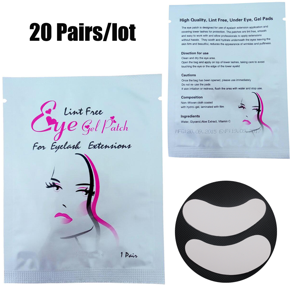 20 Pairs/Lot Eyelash Silk Eye Pads Under Eye Patches Eye lash Extension Lint Free Pads E ...