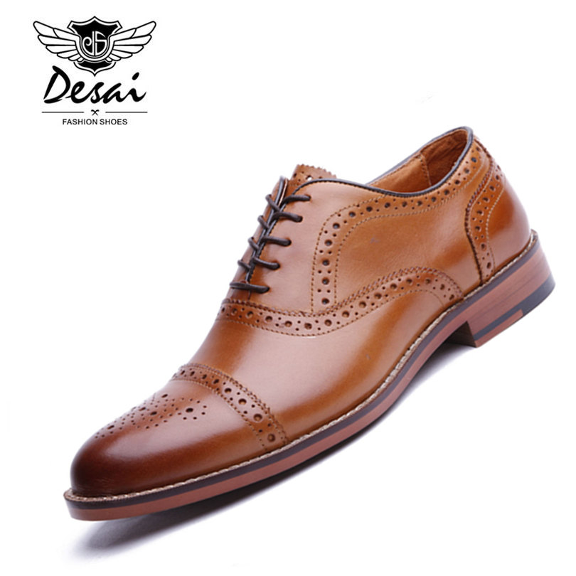DESAI Brand Men's Genuine Leather Oxfords Shoes Men British Style Carved Brogue Shoe Lace-Up Bullock Business Dress Shoes Flats