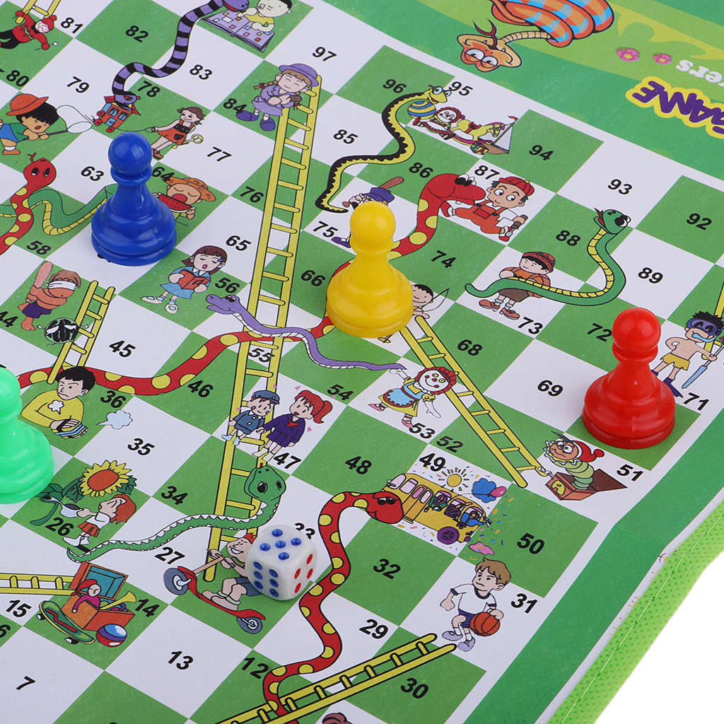 Non Woven Fabric Foldable Ludo Snake & Ladder Chess Board Game With Family For Camping Hiking Birthday Gift Christmas Gaming