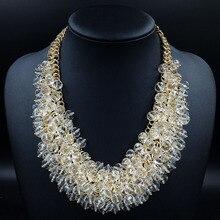 Nueva Joyería de Moda Las Mujeres de Cristal de Lujo Declaración Geometría Gargantilla Collar mujeres accesorios collar 2016 de la joyería para las mujeres