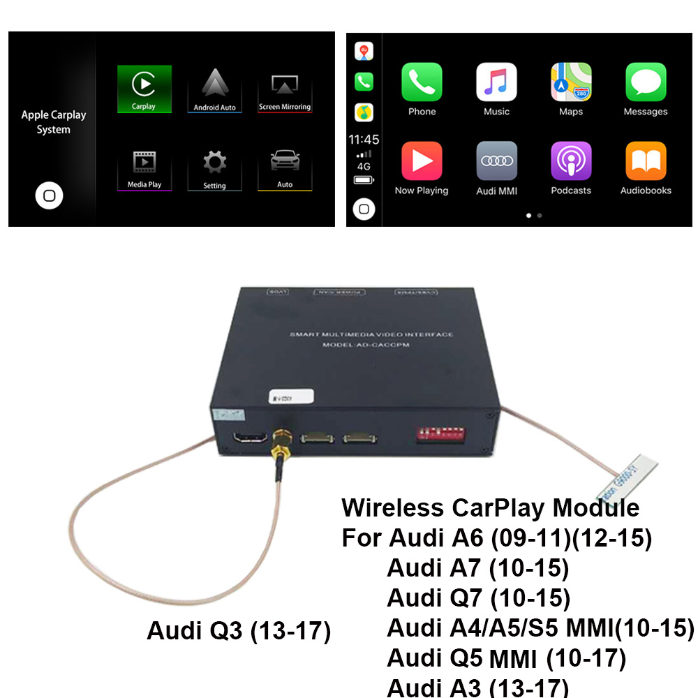 2019 Car Apple CarPlay Android Auto Wireless Decoder for Audi A6 A7( C7)  MMI Original Screen Reverse image Retrofit Kit