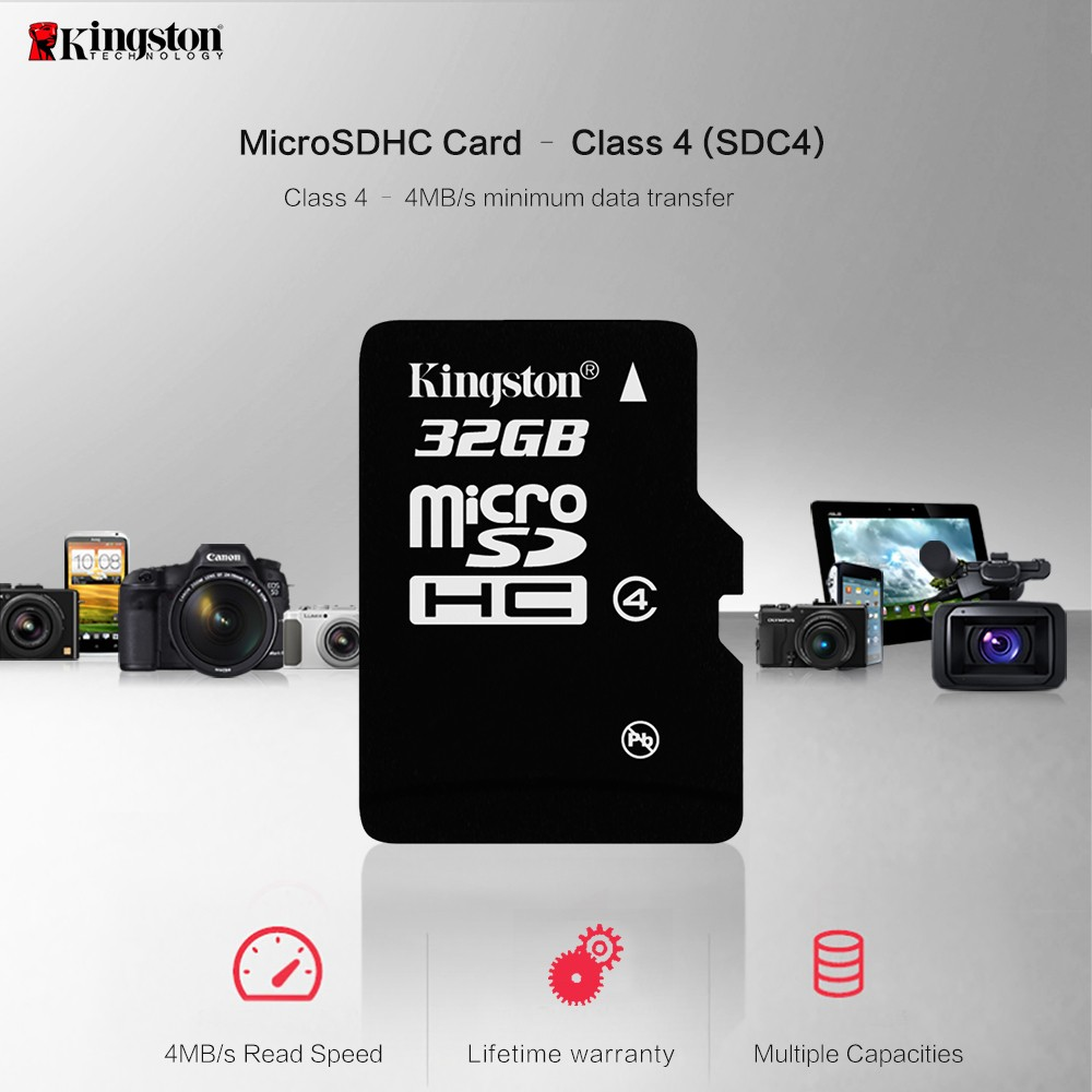 Kingston microSD card Digital 16 GB 32 GB Class 4 microSDHC Flash Card (SDC4/16GBET SDC4/32GBET) 10