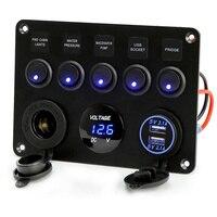 Car Marine Boat 5 Gang 12V USB ON OFF Waterproof Circuit Blue LED Light Rocker Switch Panel Breaker