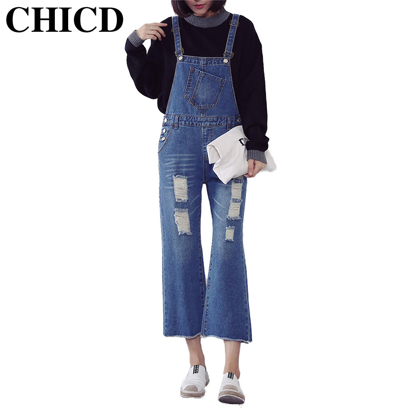 ФОТО CHICD 2017 Casual Women Denim Jeans Ripped Bleached Jeans Raw Edge Bell Bottom Hole Cargo Pants Female Cute Girls Trousers XP359