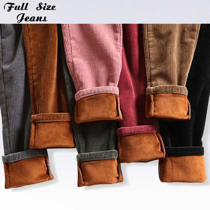 Plus Size High Elastic Waist Pink Corduroy Pencil Pans 3Xl 4Xl Design Pockets Women Winter Autumn Casual Fleece Pants