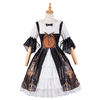 Lolita Dress Lace and Ruffles Printed Classical Lolita Outfit With shirt and Jumper Skirt