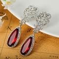 Marca de lujo de La Joyería Turca de la CZ Diamante Esmeralda Pendientes Para la Boda Accesorios Brillantes Rhinestone Marca Oídos Pendientes Vaz