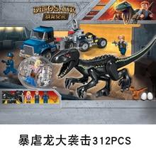 лучшая цена Legoing Jurassic World Dinosaurs Escape Tyrannosaurus Rex Cornivorous Building Blocks Toys For Children Legoings Dinosaur