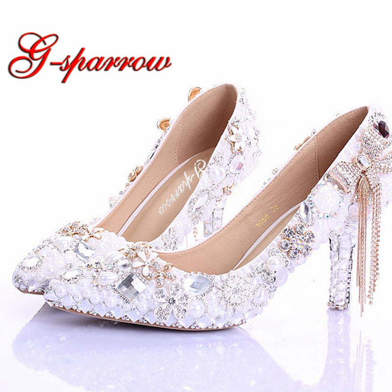 Pointed Toe High Heels New Arrival White Pearl Wedding Shoes Mother of the Bride Shoes Rhinestone Comfortable Performance Shoes 15cm fashion show thin high heels super high heels of the lacquer that bake the bride shoes sandals girl with high performance