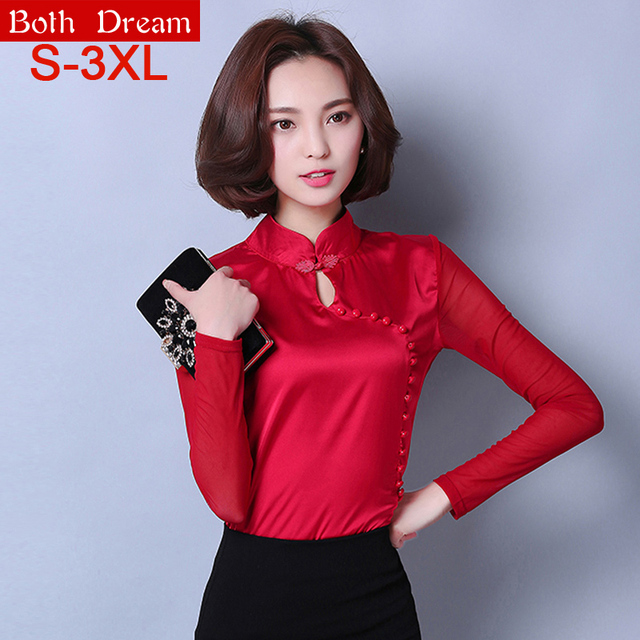 New Women chiffon blouses 2017 Spring long sleeved Beading Slim Elegant Plus size women clothing Chinese style Women tops