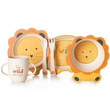 Bamboe babyschaal Bowl Cup-borden Sets 5pc / set Sub-rooster Cartoon servies Creatief cadeau voor baby peuter kinderen serviezen