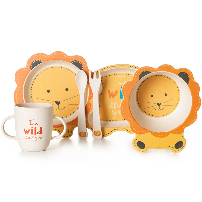 Bamboo Baby Dishes Bowl Cup Plates Sets 5pc/set Sub-grid Cartoon Tableware Creative Gift For Infant Toddler Children Dinnerware