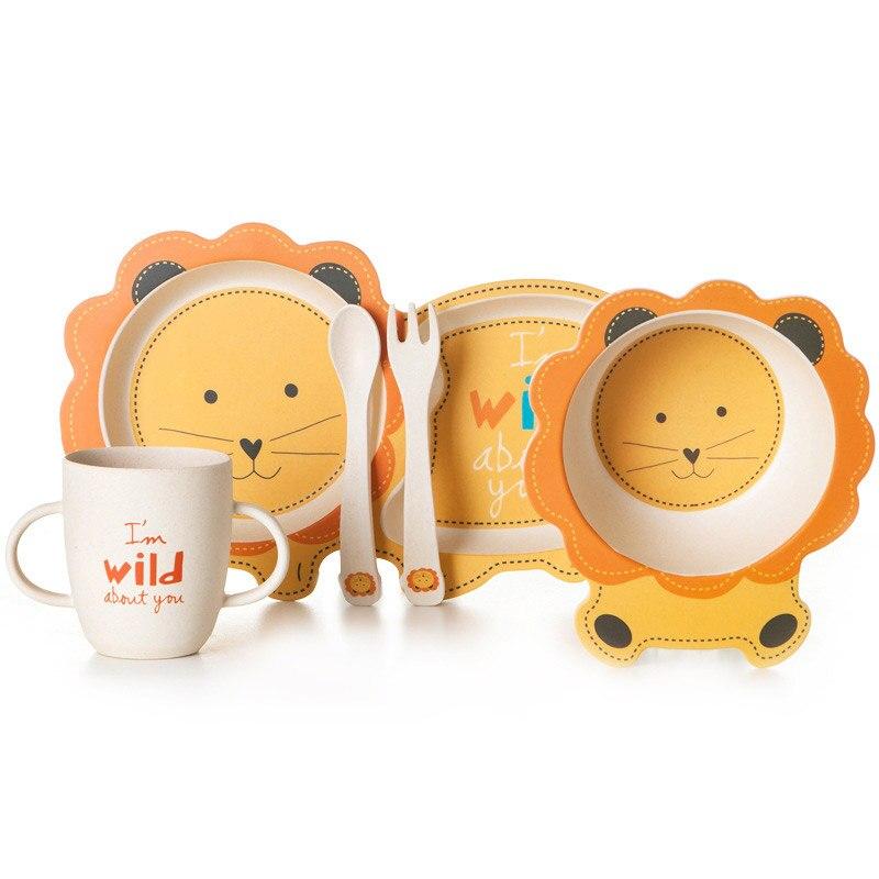 Bambus Baby Geschirr Schüssel Tasse Teller-Sets 5 teil/satz untergitter Cartoon Geschirr Kreative Geschenk Für Säuglingskleinkind Kinder geschirr