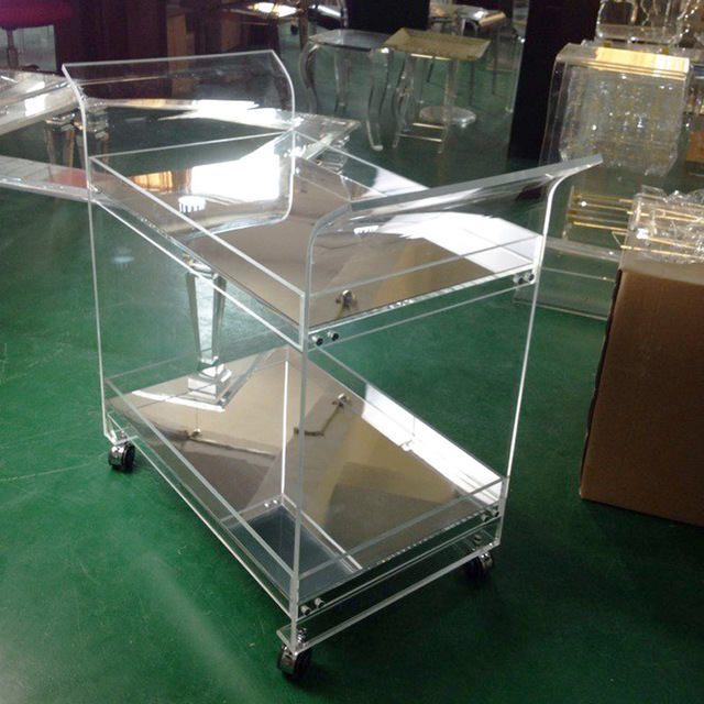 ONE LUX Rolling Lucite Serving Bar Cart,Acrylic Trolleys With Wheels Mirror Trays KD Packed