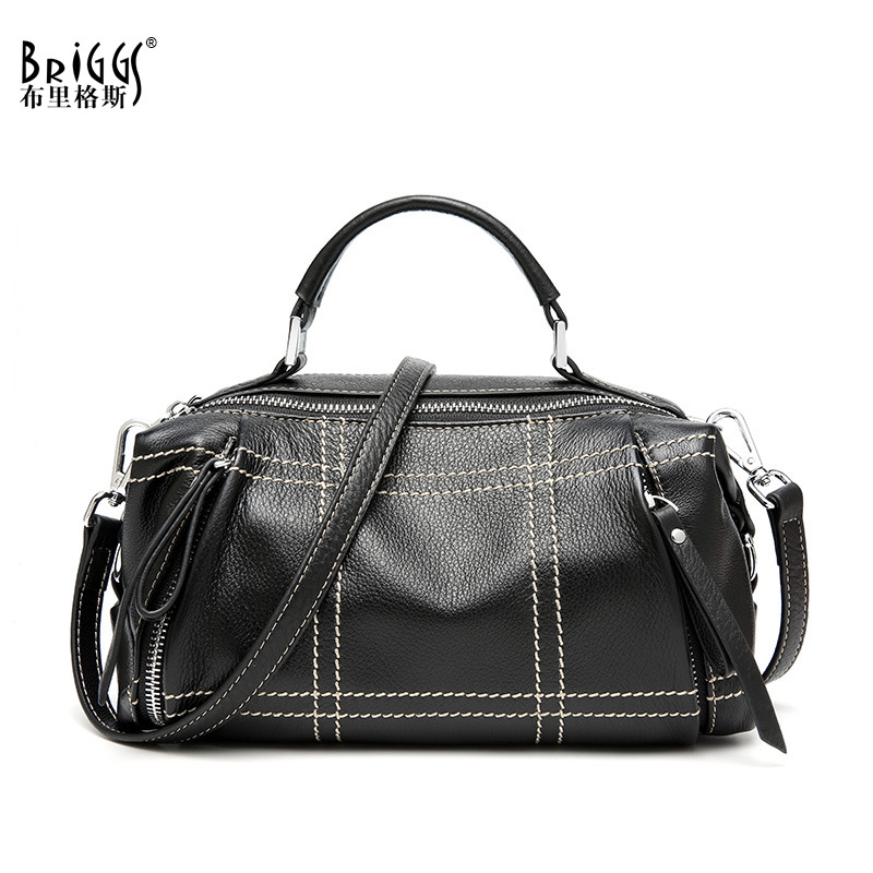 BRIGGS New 2018 Vintage Genuine Leather Women Bag Plaid Natural Cow Leather Shoulder Bag Famous Brand Women Handbag Casual Tote rdywbu 2017 luxury genuine cow leather tote handbag women s colourful flowers patch shoulder bag plaid sewing messenger bag b291