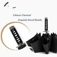 High Quality Brand Creative Warrior Samurai Short Japanese Sword Handle Rainy Sunny Umbrella Men Women Windproof