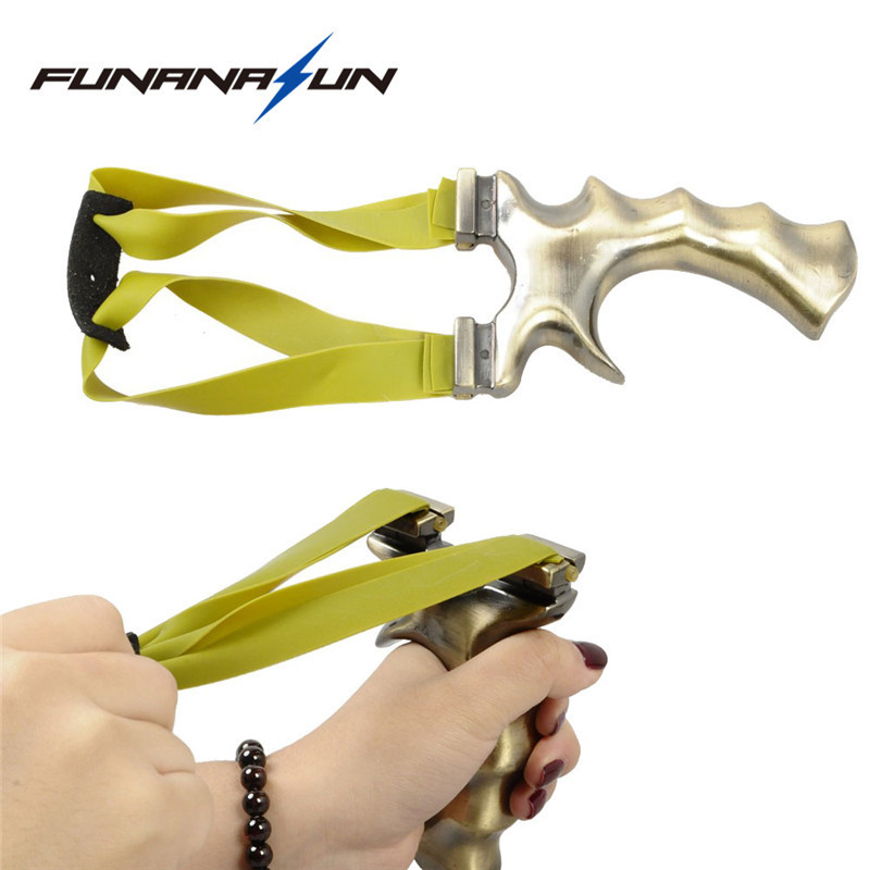 Outdoor Metal Catapult Slingshot With Rubber Band Powerful Gold Bow Copper for Shooting Hunting Games 2018 new wholesale diy copper metal accessories gold rivet with screw furniture hardware grt 10