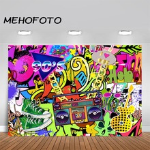 MEHOFOTO 90s Themed Backdrop Graffiti Hip Pop Party Background We Love The Banner Backdrops Decoration Supplies