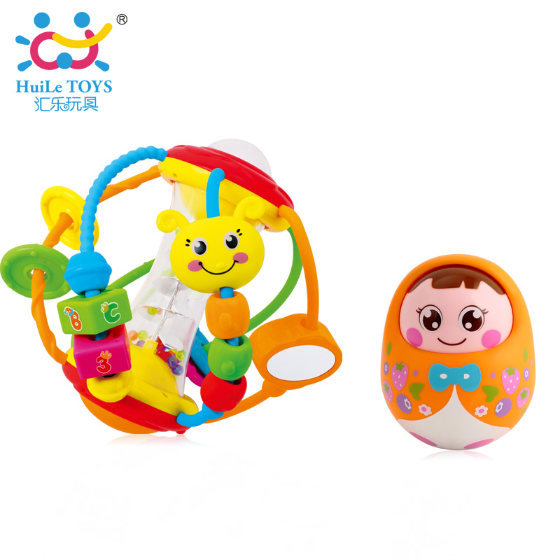 Baby Ball Rattles Toy with Cute Cartoon Animal Shape and Fun Trackball Educational Toys & Tumbler Doll Boneca Baby Rattles цена