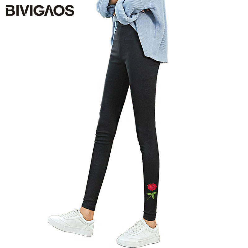 BIVIGAOS 2018 New Rose Pattern Embroidery Legging Pencil Pants Personality Tide Woven Pencil Pants Black Elastic Trousers Women