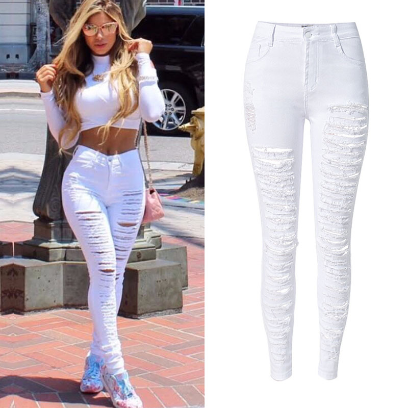 Aliexpress.com : Buy New Ladies White Ripped Jeans Woman Skinny ...