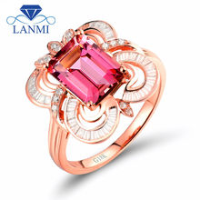Natural Emerald Cut 7x9mm Pink Tourmaline Jewelry Ring With 18k Rose Gold Baguette Round Diamond WU273