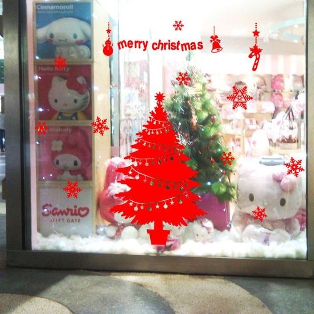 Merry Christmas Tree Snowman Bell Star Diy Wall Stickers For