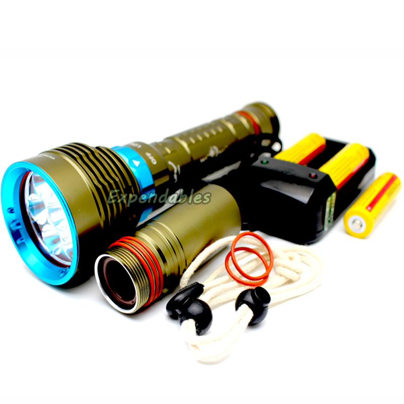 ФОТО 2016 New Diving torch 7 x XM-L2 LED Lantern 200M Underwater 14000 Lumens Scuba Diving Flashlight Dive Torch Lamp for Hunting