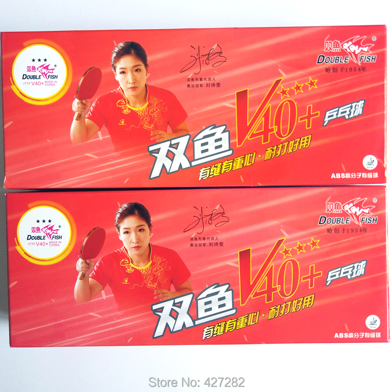 Original double fish V40+ 3 stars table tennis balls ABS polymer balls has seam new material wholesales total 20balls wihte