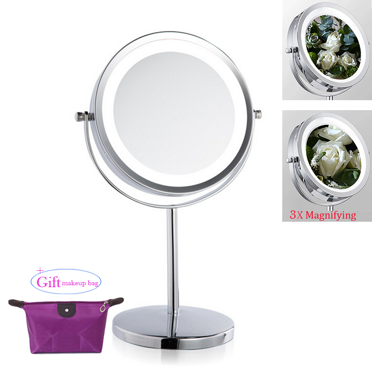 7Inch LED light Mirror Makeup Cosmetic Dual Side Mini Lady Girl Women Lady Beauty Normal 3X Magnifying Stand Tools for makeupbag free shipping 9wall mounted round 3x 1x magnifying bathroom mirror led makeup cosmetic mirror lady s private mirror bm003