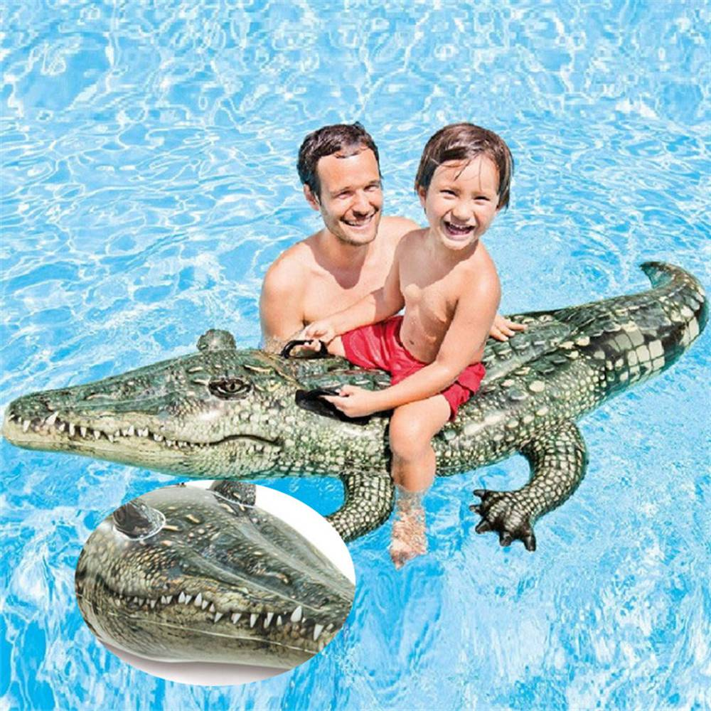 168cm Inflatable Crocodile Giant Pool Float Toys Kids Inflatable Mattress Buoy Swimming Ring Beach Party Unicorn Withstand 75kg