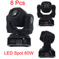8 Pcs New 60W Led Moving Light New Ultra Bright 60W Spot Light DMX512 9/11 Channels 90V-240V Professional Led Stage Light