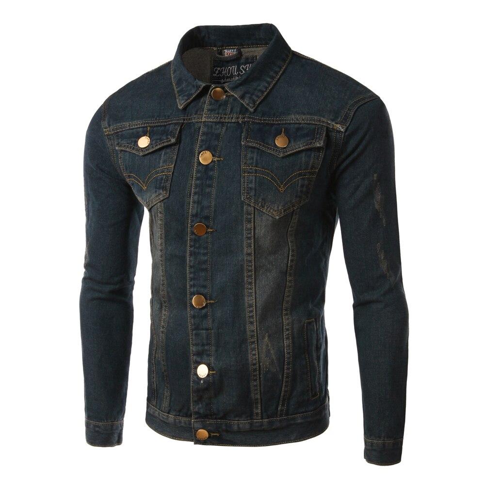 vintage denim jacket men 2017 fashion design mens slim fit. Black Bedroom Furniture Sets. Home Design Ideas