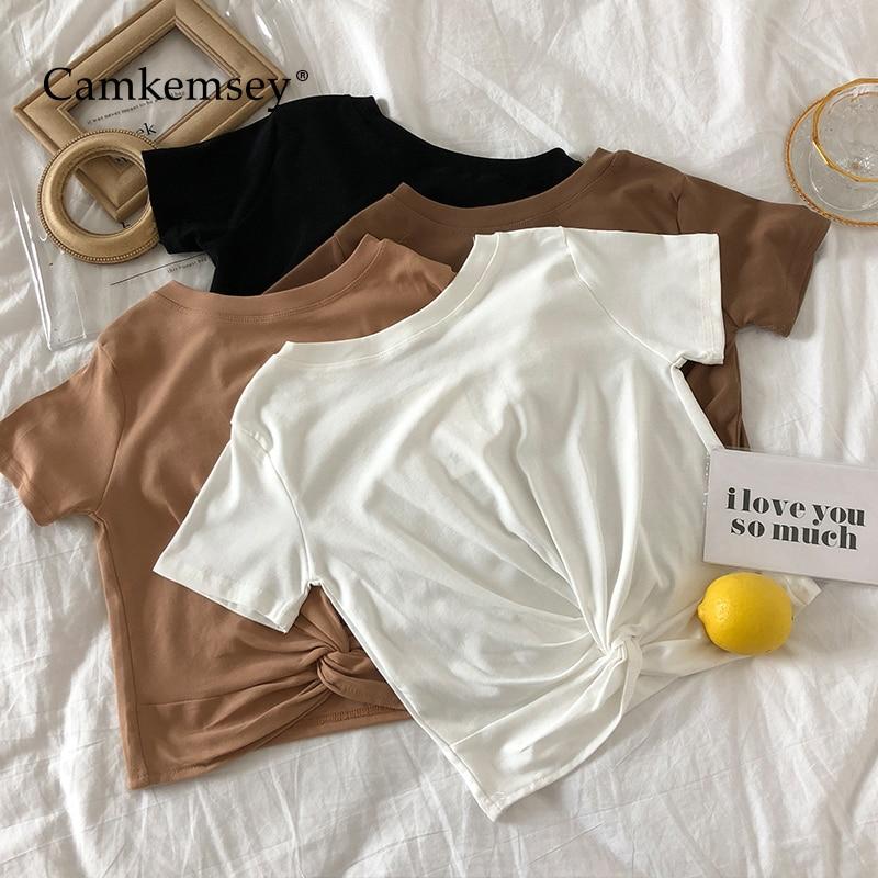 Женская короткая однотонная летняя футболка кроп с коротким рукавом и скрученным узлом, хлопок
